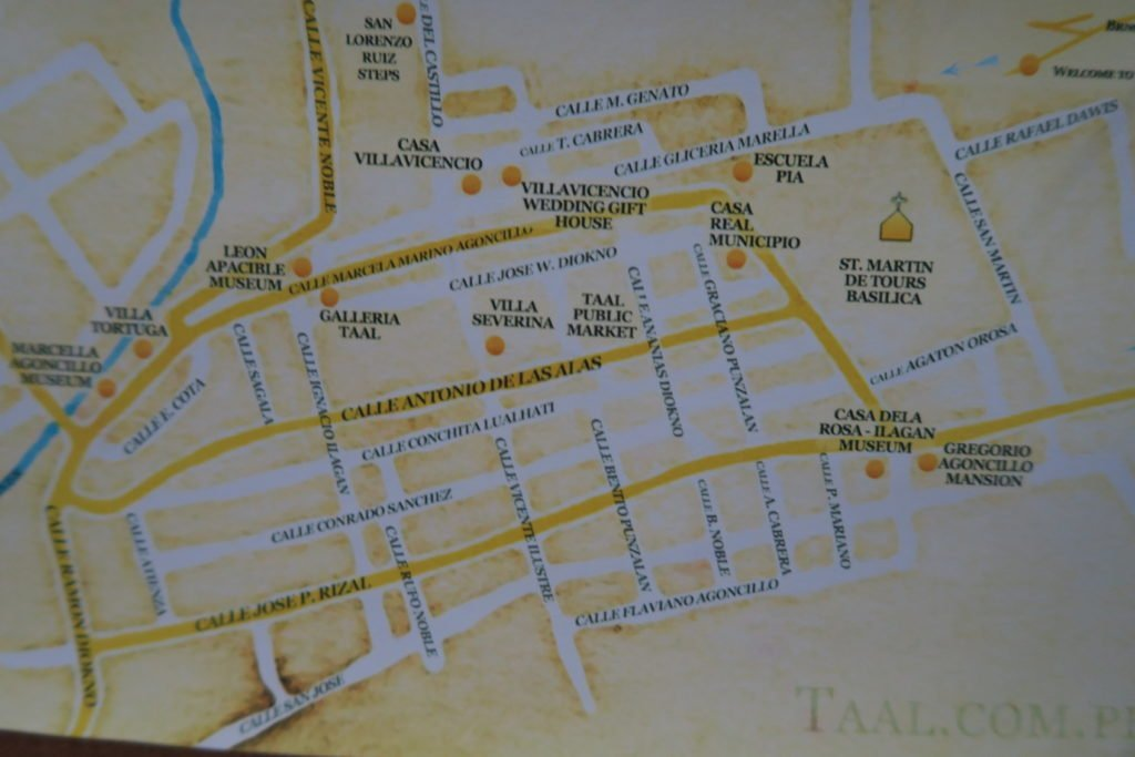 Map of the Tourist Spots in Taal